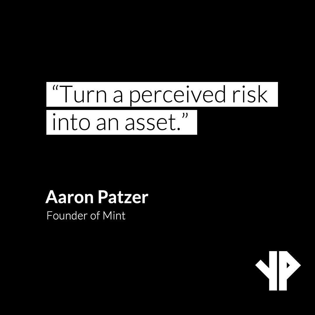 """Turn a perceived risk into an asset.""  – Aaron Patzer, founder Mint  #yourplatform #motivational #successquotes #money #entrepreneurship #lifequotes #inspirational #hustle #quotestoliveby #entrepreneurlife #successful #Entrepreneur #Business #Entrepreneurship #WontStop #Mindset"