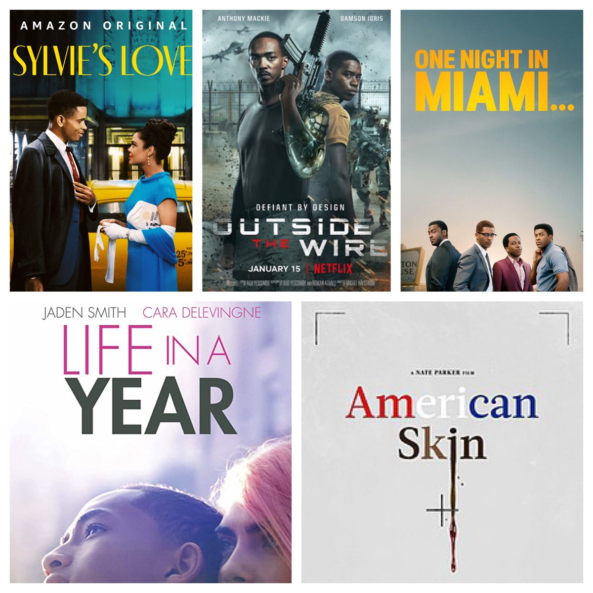 Every single one of these films is worth your time. Let's also applaud the amount of Black leads we're getting and it's only the third week of the year. Anyways, watch and enjoy. Ok bye! #SylviesLove #OutsideTheWire #OneNightInMiami #LifeInAYear #AmericanSkin