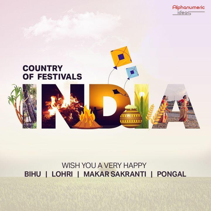 Divided by Custom, United by Celebration.  #HappyBihu #Pongal #MakarSankranti #HappyLohri #IncredibleIndia