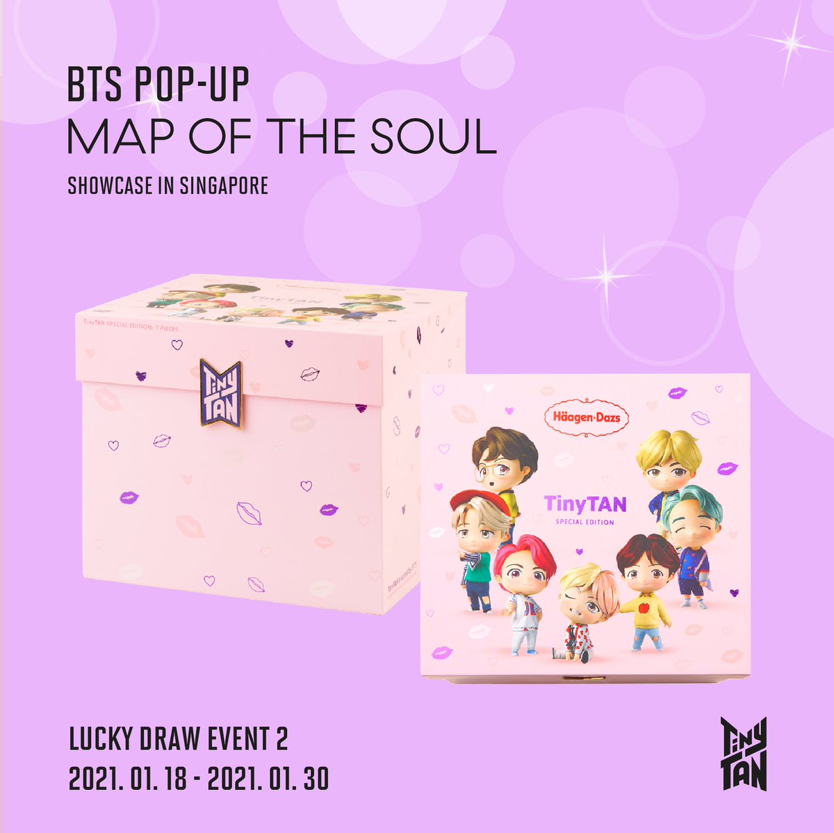 [BTS POP-UP : MAP OF THE SOUL Showcase in SINGAPORE]  Lucky Draw Event 2 - Be one of our 25 lucky winners to win a set of Haagen Dazs TinyTAN Ice Cream Cakes worth SGD 98! 👉Swipe to see how to participate!   📍 Plaza Singapura, # 01-08/09  #BTS