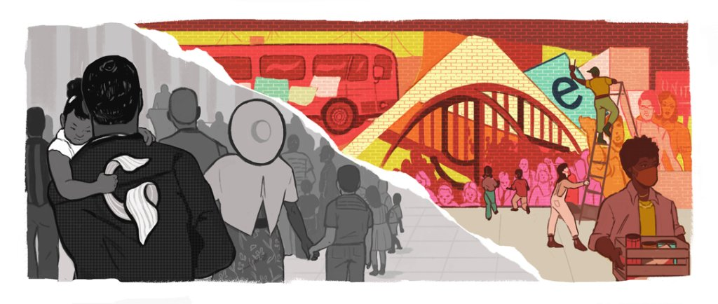 Dr. Martin Luther King, Jr.'s dream of equality inspired generations.  Today's #GoogleDoodle celebrates MLK Day, where people of all ages honor his legacy by pouring into their communities to build a better future 🇺🇸  🎨  by guest artist Noa Denmon →