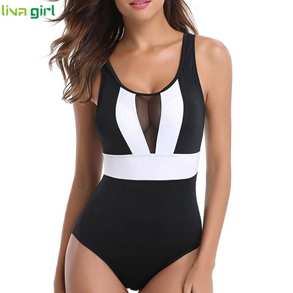 #beach #sport One Piece Swim Suit - with lace accent