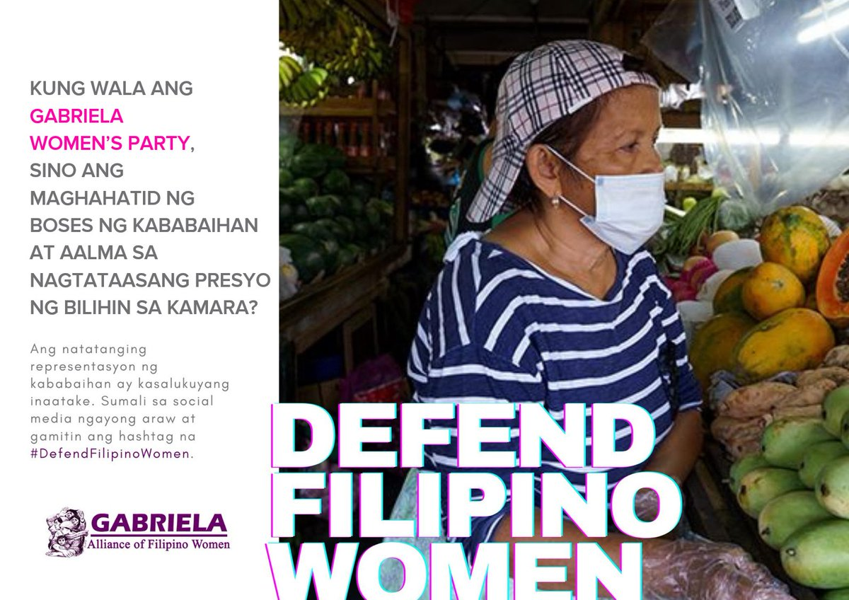 Kung wala ang Gabriela Womens Party, sino ang maghahatid ng boses ng kababaihan at aalma sa nagtataasang presyo ng bilihin? Depensahan ang nag-iisang representante ng kababaihan sa Kongreso! Join our day-long social media rally today! #DefendFilipinoWomen #HandsOffGabriela!
