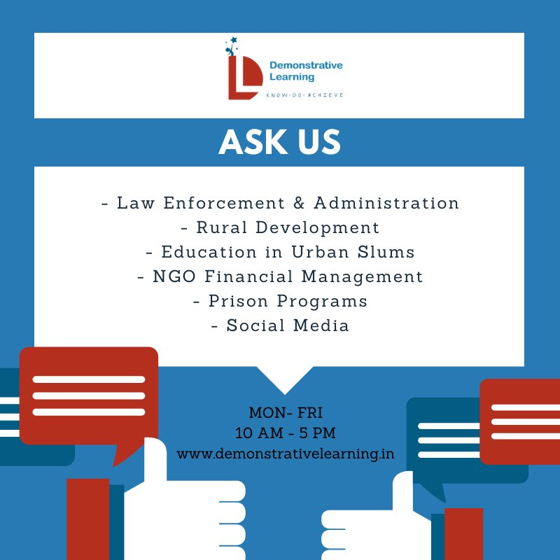 ASK US is a Q&A based interactive module which provides expert opinions/responses across various topics. To know more, visit:   #Law #Enforcement  #Administration #RuralDevelopment #FinancialManagement #NGO #PrisonPrograms #SocialMedia #Education #Learning