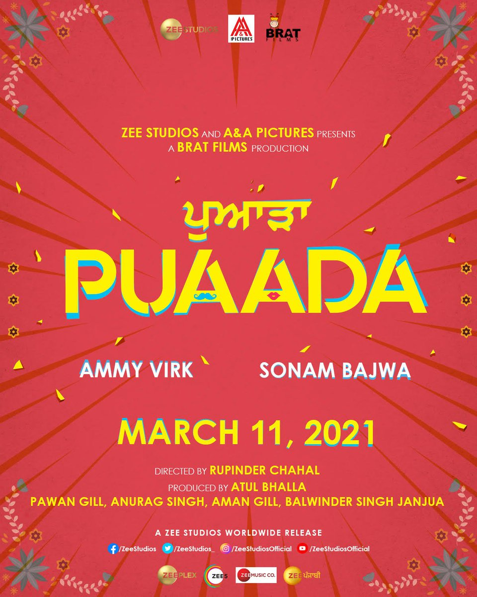 Pyaar kitta fer #Puaada tey paina, in cinemas 11th March!! . . @AmmyVirk @bajwasonam @aandapicture @brat_films  #RupinderChahal @theatulbhalla @PawanGill  @SinghAnurag79 @theamangill @BalwinderJanjua