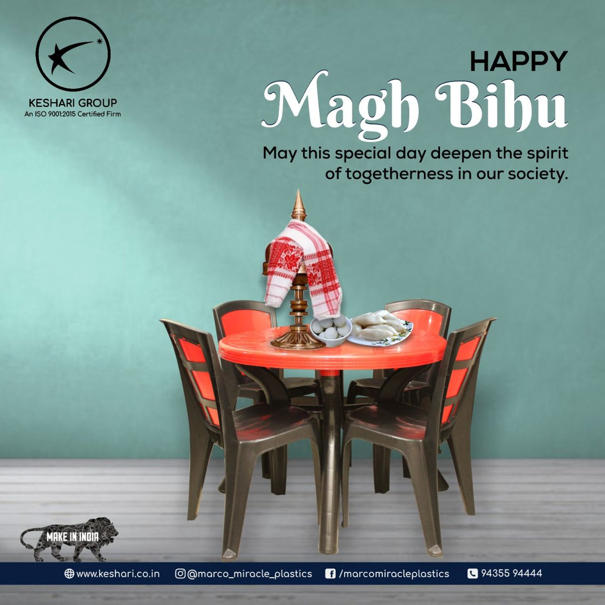 May this Bhogali Bihu be a harbinger of happiness in your life! Happy Bihu. . . . #Bihu #HappyMaghBihu #Chair #Table #DinningTable #Bucket #Dustbin #Stool #HouselholdItems #HouselholdEssentials #MarcoMiracle #Miracle #Marco #MiracleChairs #KeshariIndustries #Guwahati #Assam