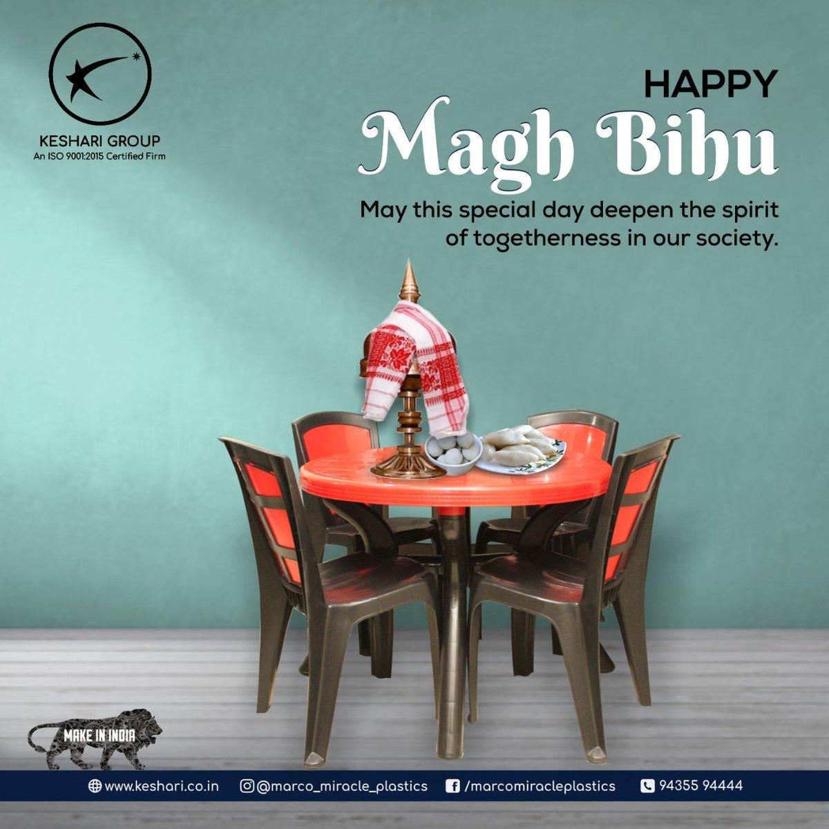 May this Bhogali Bihu be a harbinger of happiness in your life! Happy Bihu. . . . #Bihu #HappyMaghBihu #Chair #Table #DinningTable #Bucket #Dustbin #Stool #HouselholdItems #HouselholdEssentials #MarcoMiracle #Miracle #Marco #MiracleChairs #KeshariIndustries #Guwahati #Assam