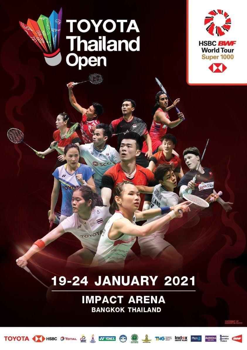 TOYOTA Thailand Open 2021, HSBC BWF World Tour Super 1000.  19-24 January 2021, Bangkok, Thailand.   #TOYOTAThailandOpen  #ThailandOpen2021  #ThailandOpenSuper1000 https://t.co/D76Az4Gtv9