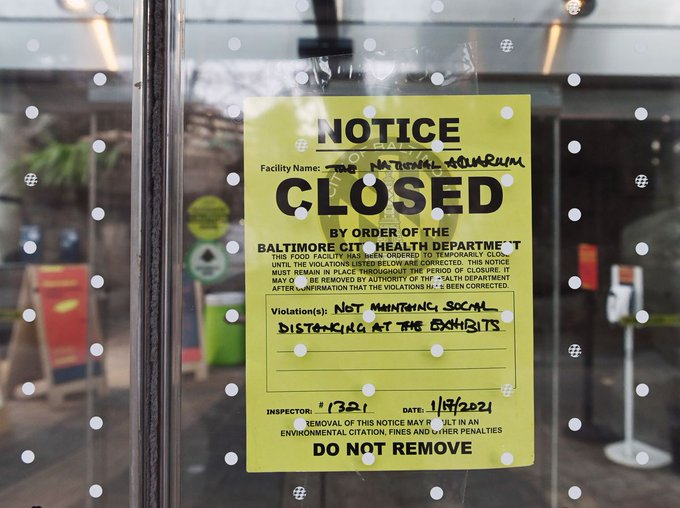 National Aquarium in Baltimore Inner Harbor closed by city health department for improper social distancing Photo