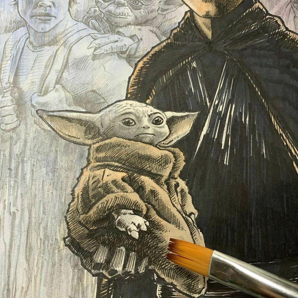 Mixed media on this one. Laying down some watercolor.  .  Star Wars Art in progress.   .  .  .  .  .  #starwars #yoda #lukeskywalker #mandelorian #art #artist #artwork #artstuff #artshare #artnerd #artfreak #scifiart #portrait #illustration #pencil #draw…