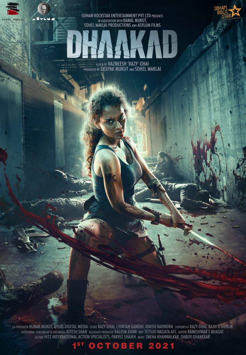 Fierce & Fiery! Love your first look @KanganaTeam! Looking forward to watching #Dhaakad in cinemas on OCT 1st, 2021!  @SohamRockstrEnt @DeepakMukut @RazyGhai @sohelmaklai @sohailmaklai @AsylumFilms @rampalarjun @divyadutta25 @writish @DhaakadTheMovie