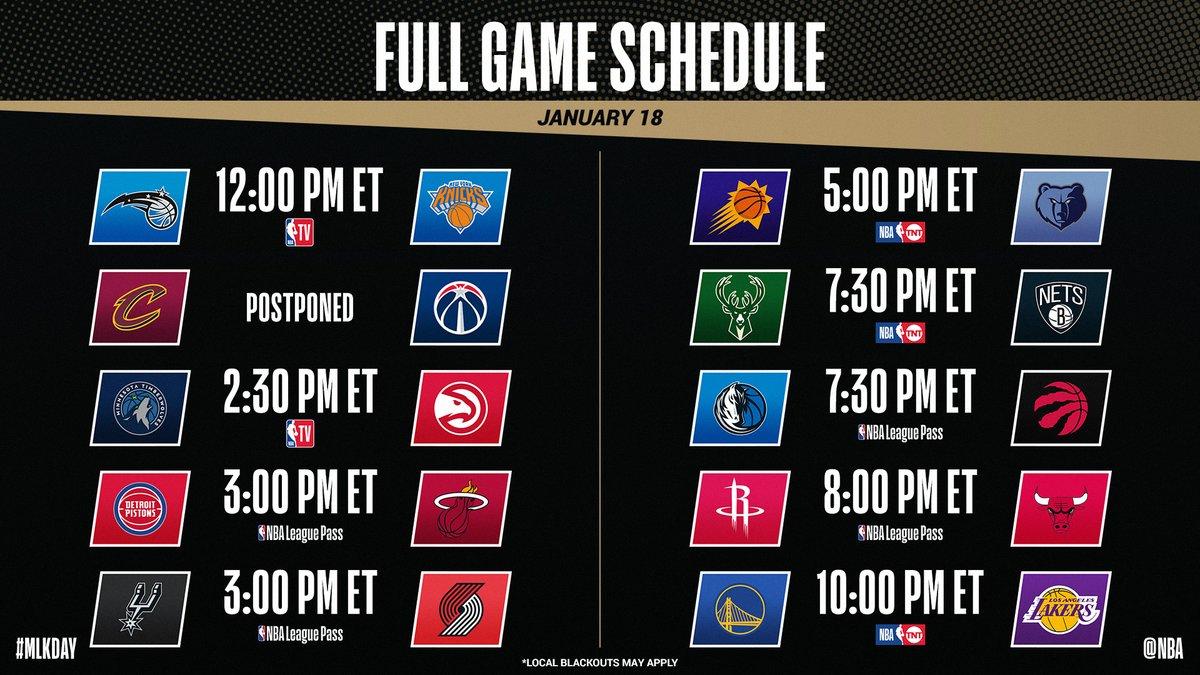 Full slate of games on #MLKDay  📸: @NBA