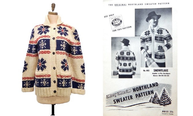1950s Mary Maxim Snowflake pattern hand knit wool cardigan | 50s Mary Maxim Northern Sweater pattern collection | size medium | Unisex  #sustainable #Toronto #onlineshopping #Vintagelifestyle #vintagefashion #retrouverbiz #fashion