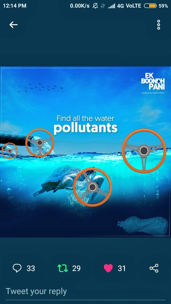 @EkBoondhPani The Water pollutants are :~ 1) sewage water  2) Poly bags 3) Plastic bottles  4) Oil  #EkBoondhPaani #sustainability #SDG6 #ClimateChange #conservation #sustainability #waterconservation #waterconservationawareness @EkBoondhPani  💫 ✌ @kalpana7867 @iwasbornhot @Godisgreat001