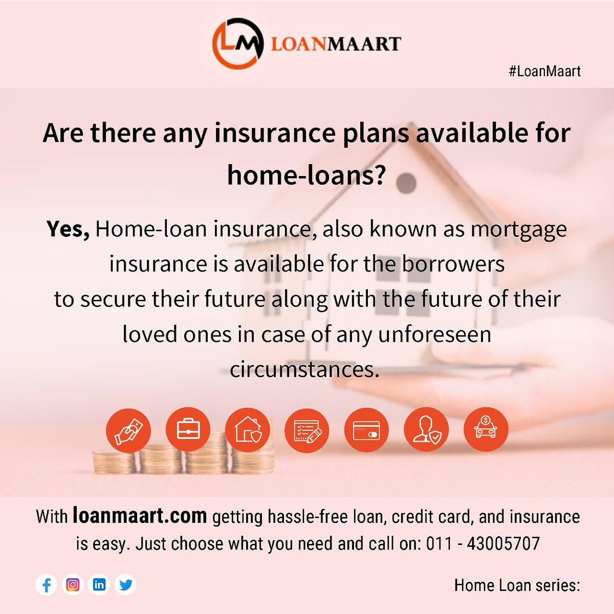In our ongoing #financialeducation series, today we'll be talking about:  Are there any #insurance plans available for #homeloans? Yes, Home-loan insurance, also known as... see #infographic   With  getting #loan, #creditcard, etc. is easy. #LoanMaart