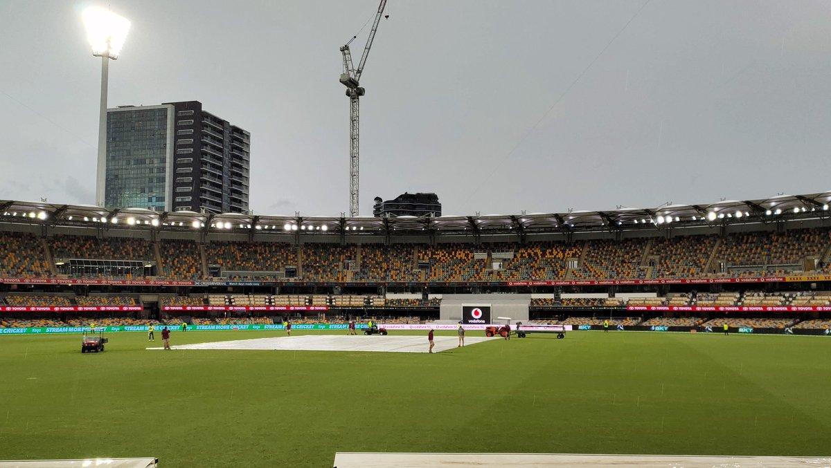 The latest resumption time is 5.30pm (1:00pm IST) but rain continues to pour down. #AUSvsIND