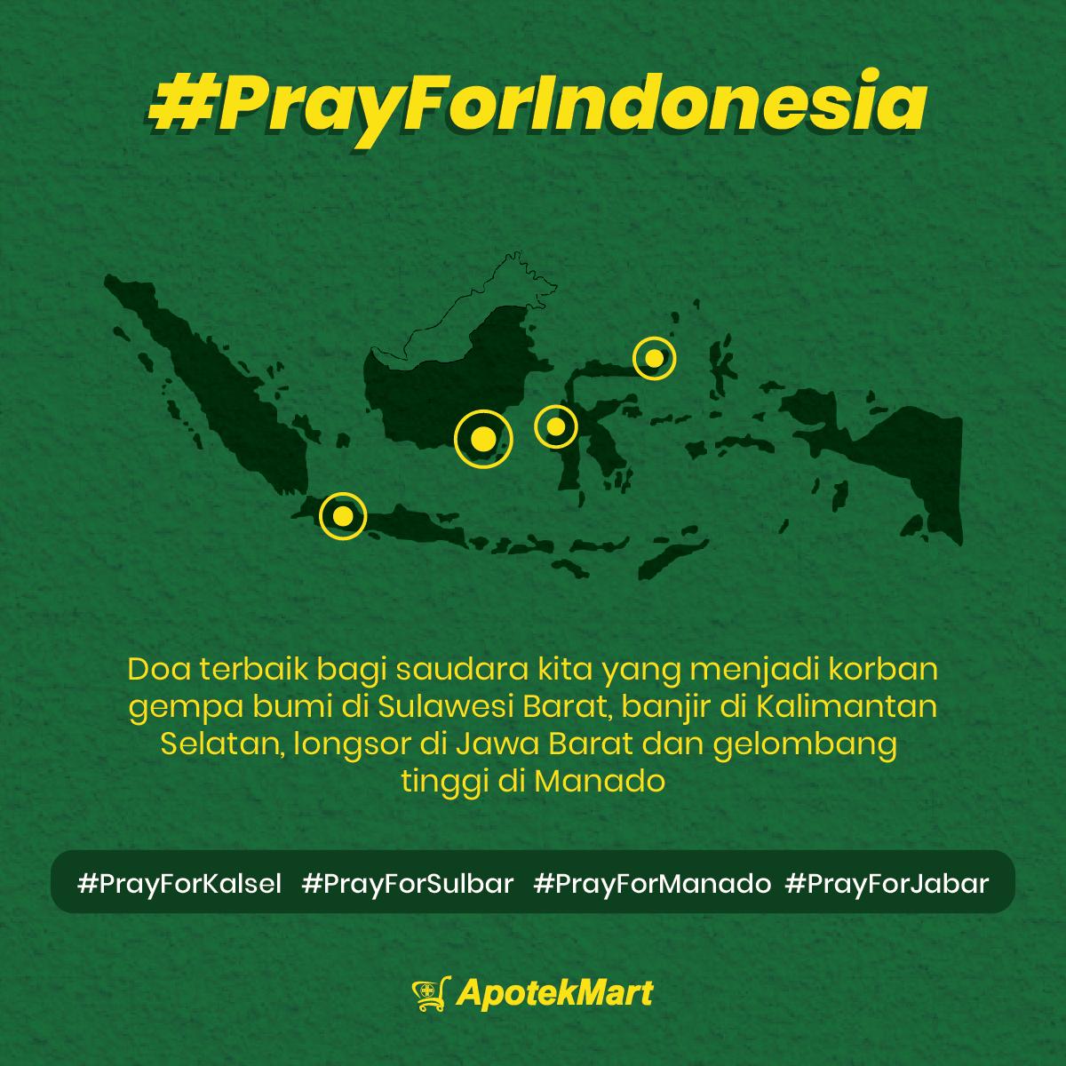 Semoga saudara kita yang tertimpa bencana dilimpahkan kesehatan, kekuatan dan perlindungan dari Allah SWT.  Lekas pulih Indonesia.  #PrayForIndonesia #PrayForKalSel #PrayForManado #PrayForSumedang #PrayForSulBar #PrayForMerapi #PrayForSemeru #PrayForJabar #Apotekmart