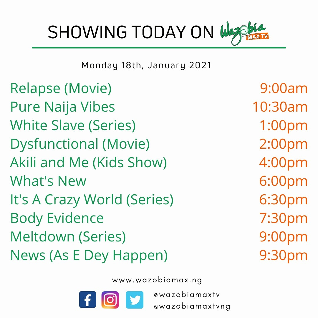 Make una no miss shows wey we don line today!   Enjoy the entertainment ontop #WazobiaMaxTV DStv 259 and UHF 57 terrestrial 🥰  #goodmorning