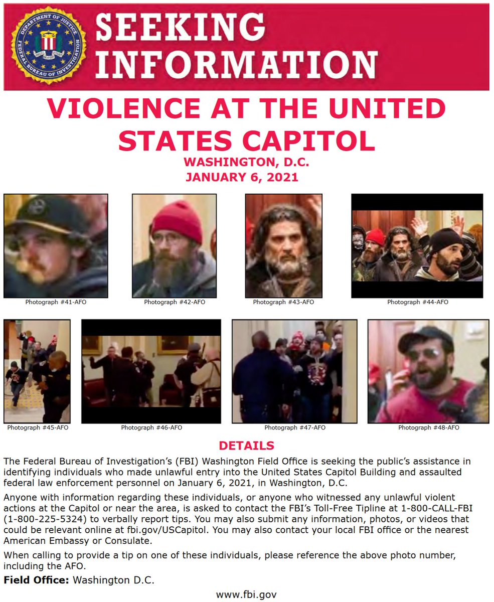 #FBIWFO is seeking publics assistance in identifying those who made unlawful entry into US Capitol & assaulted federal law enforcement on Jan 6. If you have info, report it to the #FBI at 1-800-CALL-FBI or submit photos/videos at ow.ly/NKXk50D4NlV. fbi.gov/wanted/seeking…