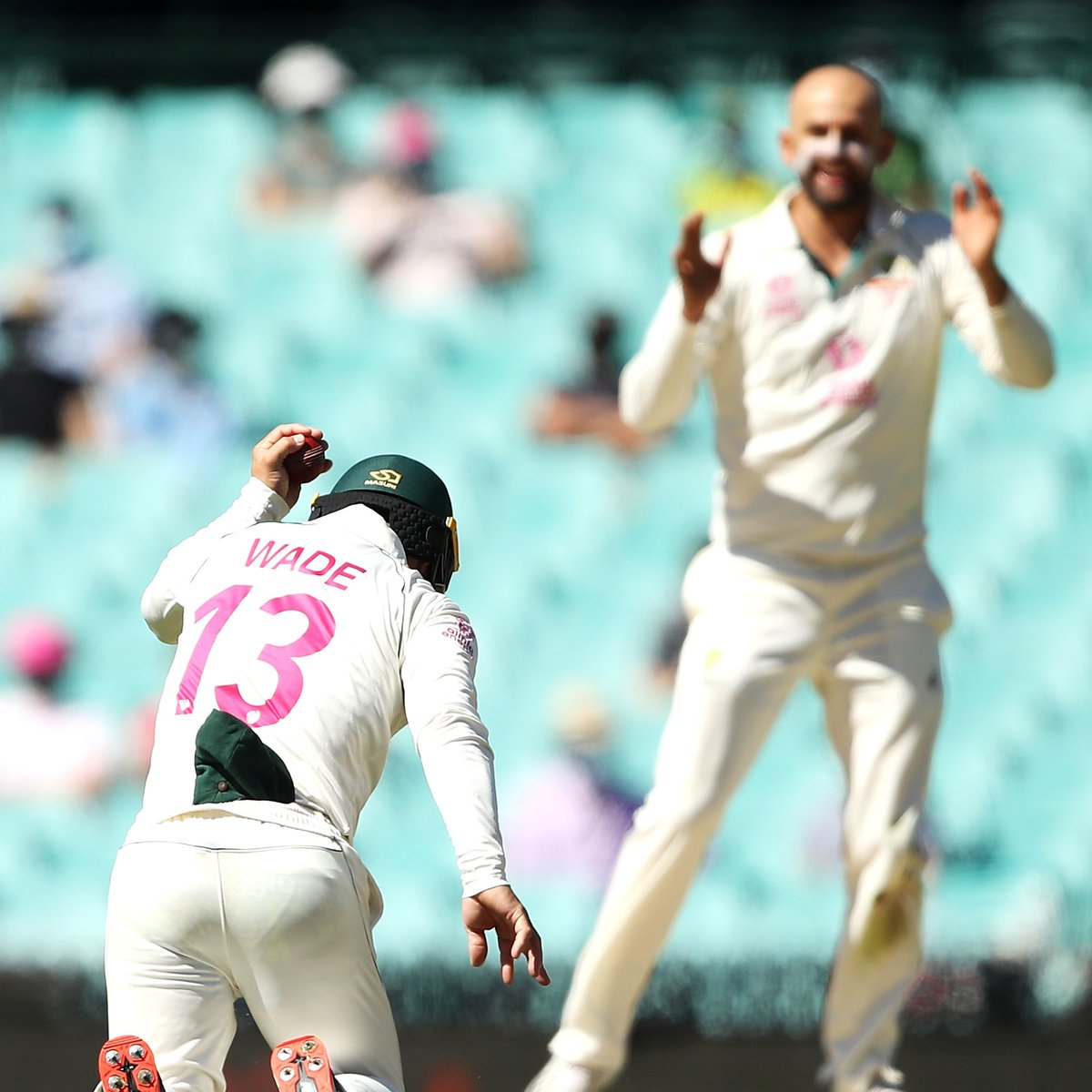 It took Nathan Lyon only four balls to strike at the start of day five! #OhWhatAFeeling  @Toyota_Aus | #AUSvIND