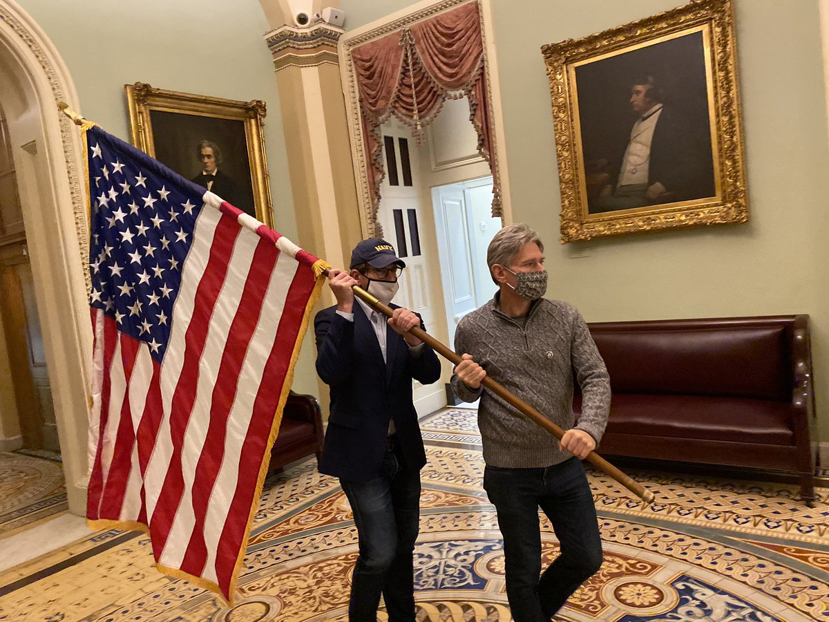 My friend @RepMalinowski and I walked the Capitol this afternoon to extend gratitude and condolences to the officers who defended us and ensure our American flag once again graced the hall so grotesquely stained with hate on Wednesday.