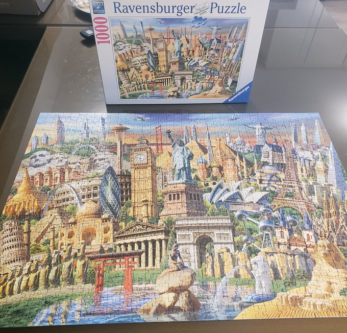Lockdown accomplishment of 2021 so far... this is my first time doing a 1000 piece puzzle and I won't