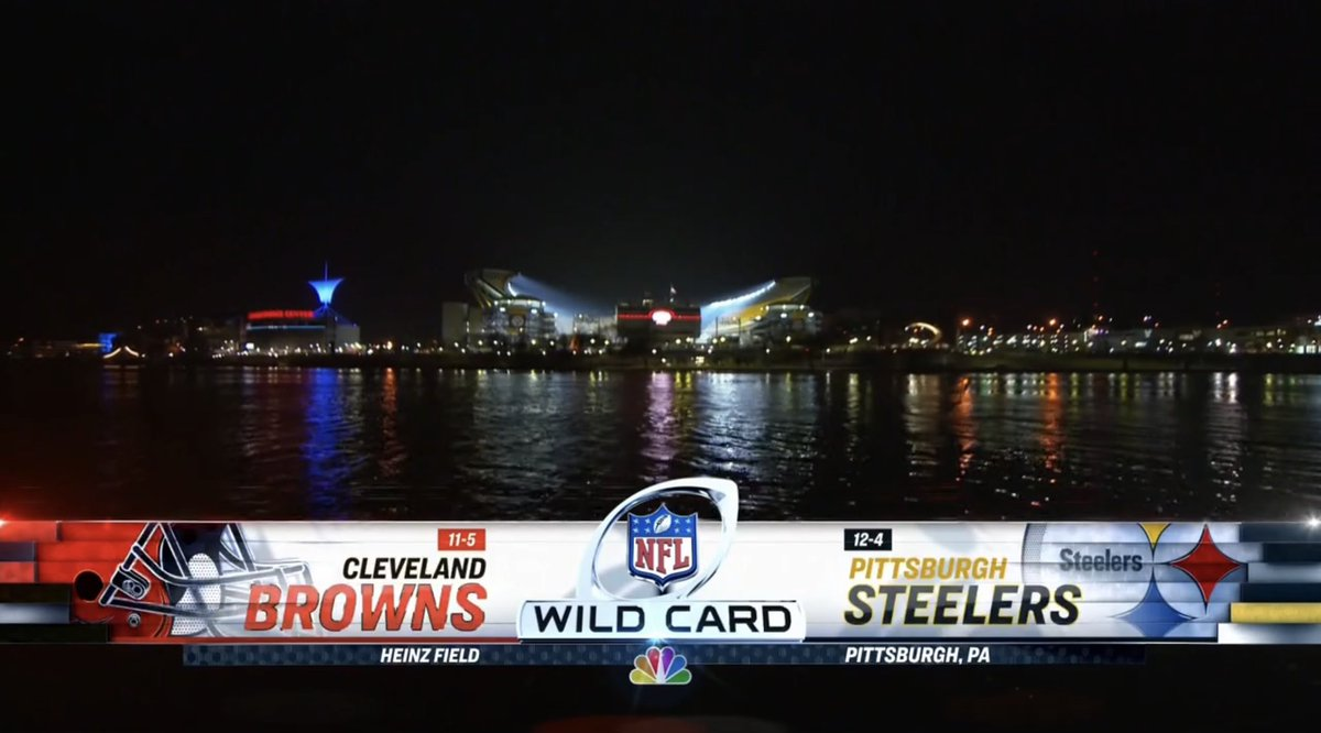 Okay, last game of the #SuperWildCardWeekend   It's Browns vs Steelers.   Steelers managed to win the division, but are limping.   And Browns, they have massive COVID issue.   Who will advance?   NBC!!!!!   #SNF #BALvsPIT #WildCardWeekend