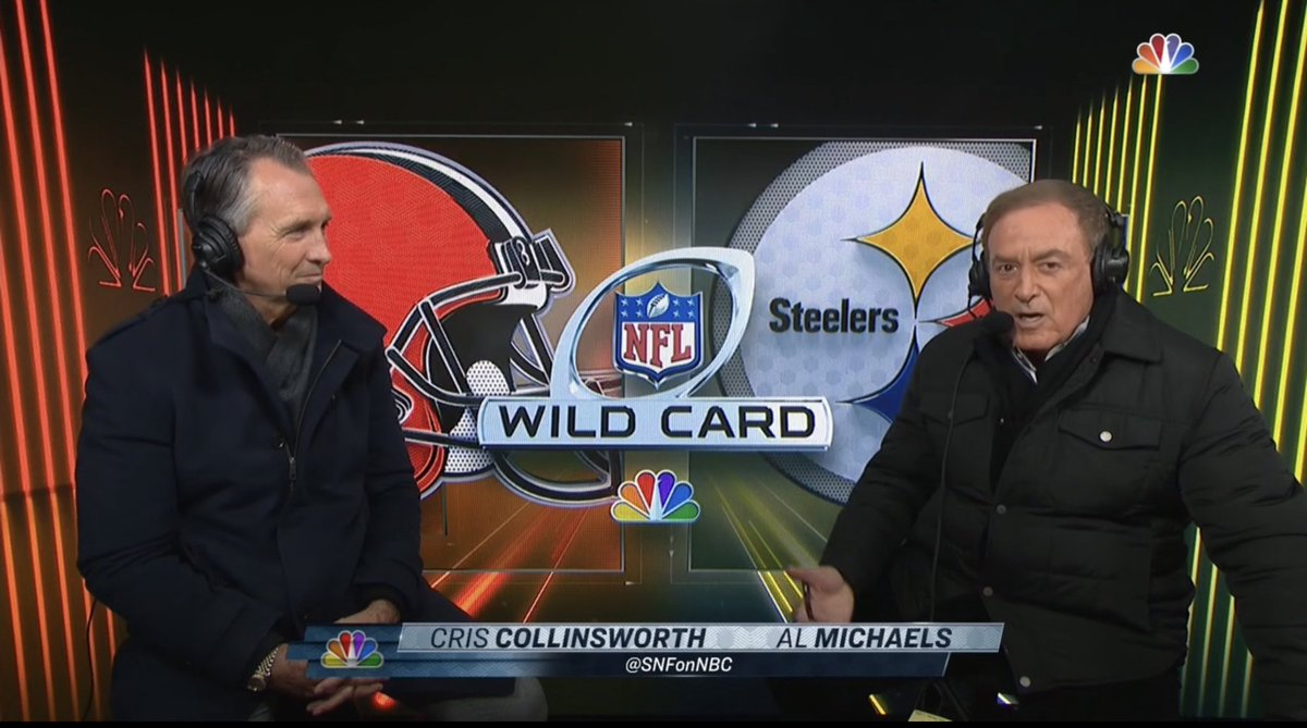As always, Al Michaels and Cris Collinsworth has the call.   #SNF #BALvsPIT #WildCardWeekend