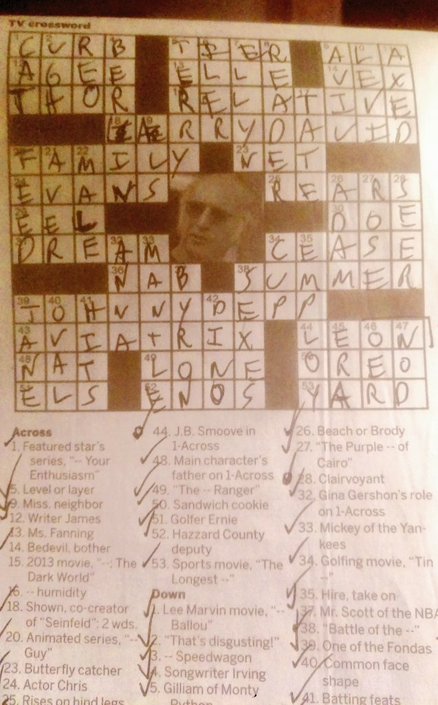 Larry David and @ohsnapjbsmoove were in my newspaper crossword puzzle today. Congrats on finally making it to the big time!