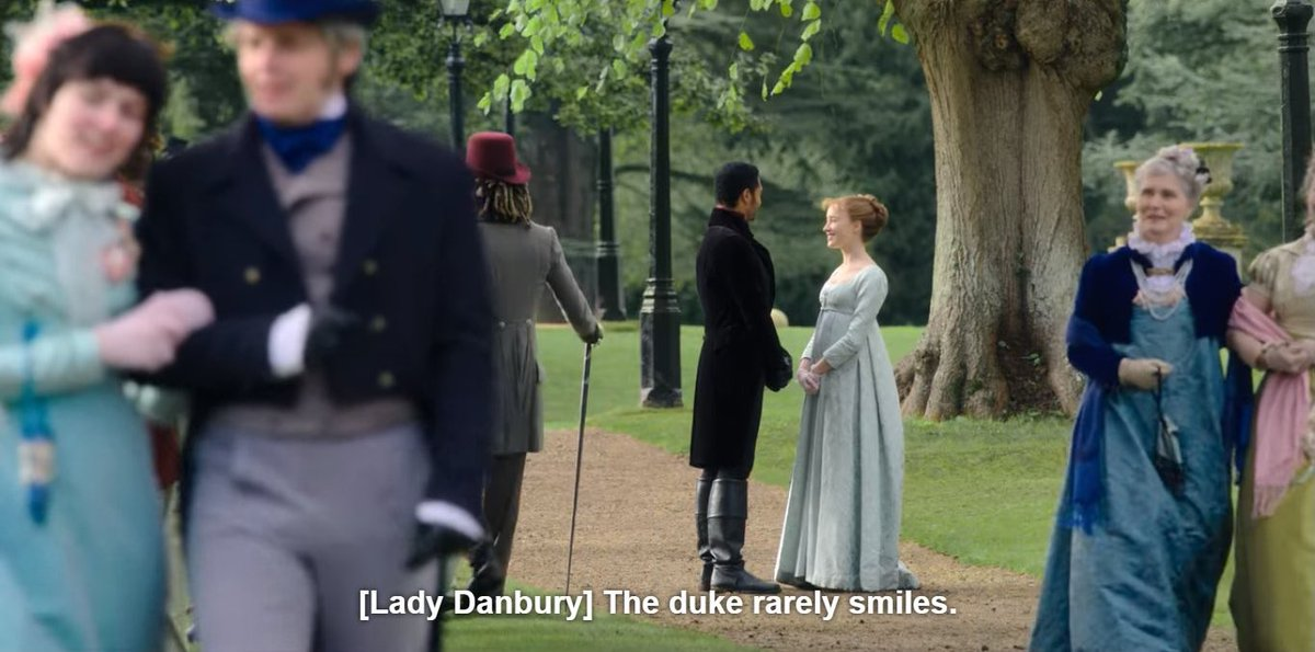 "Lady Danbury: ""The Duke rarely smiles.""   The Duke after meeting Daphne:  #bridgertonnetflix #bridgerton"