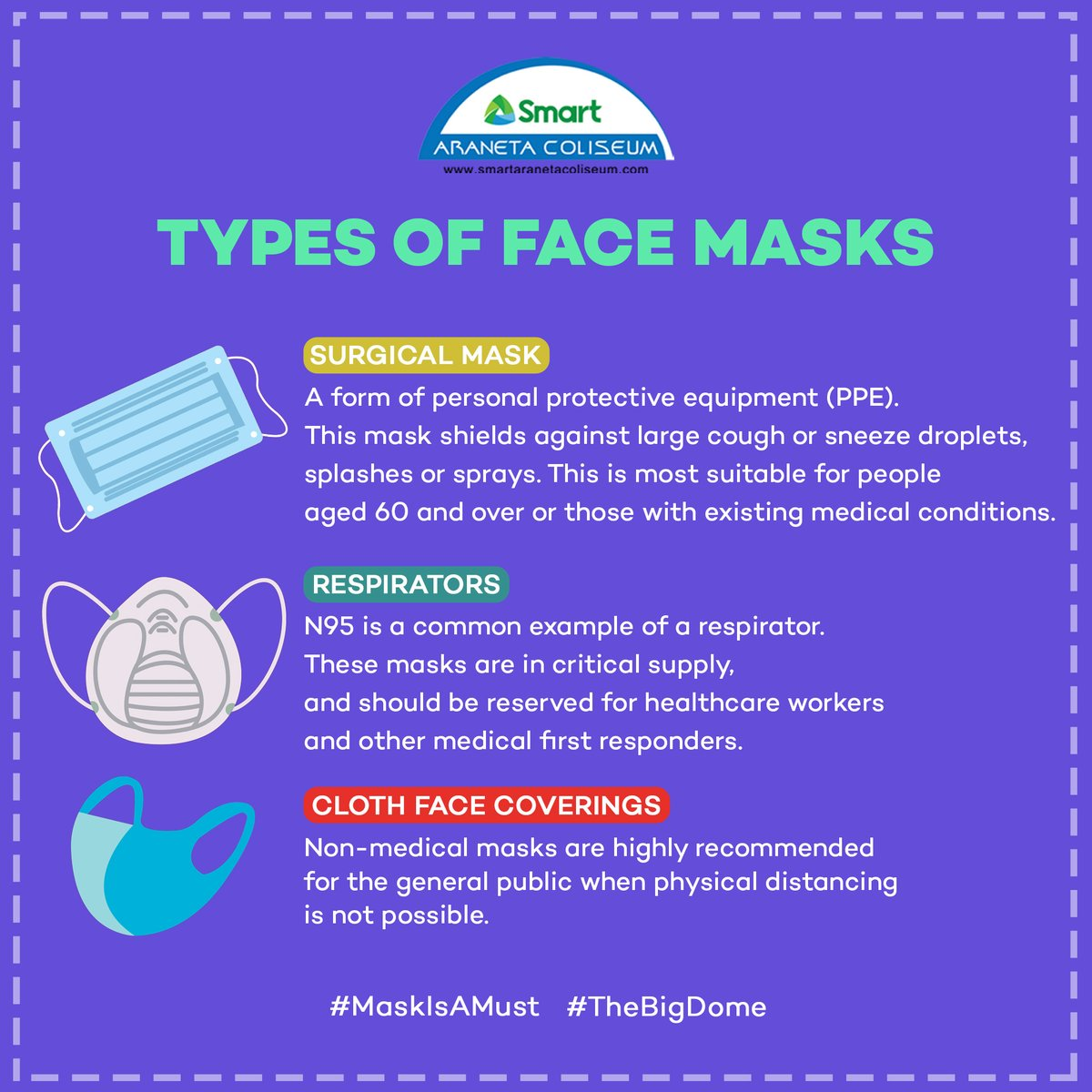 It's another manic Monday! In case you're on your way out today, make sure to bring your masks and an extra mask with you! Stay safe and healthy 💙✨  #StaySafe #MaskIsAMust #TheBigDome