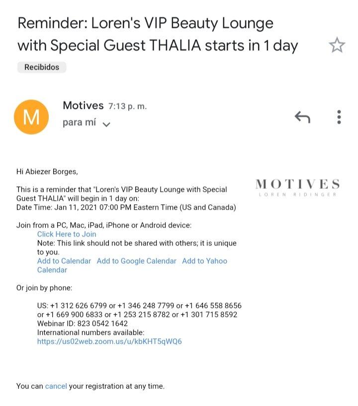 I received the reminder today!! 😍 @thalia @lorenridinger @motives #Thalia #BESOS #ThaliaBESOS #MotivesCosmetics