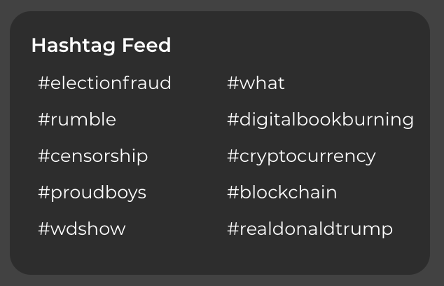 The popular hashtags for Parler right as it went down are pretty much what you expect. https://t.co/VUarww7kag