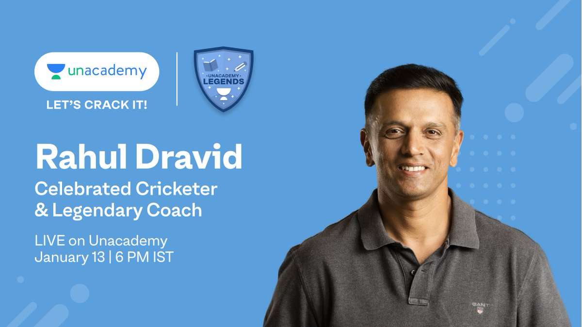 Next up on #LegendsOnUnacademy is Rahul Dravid, celebrated cricketer and legendary coach. Join this Free Live Class and learn how persistence can be the secret to cracking it in life!  Use invitation code LEGENDS to register: