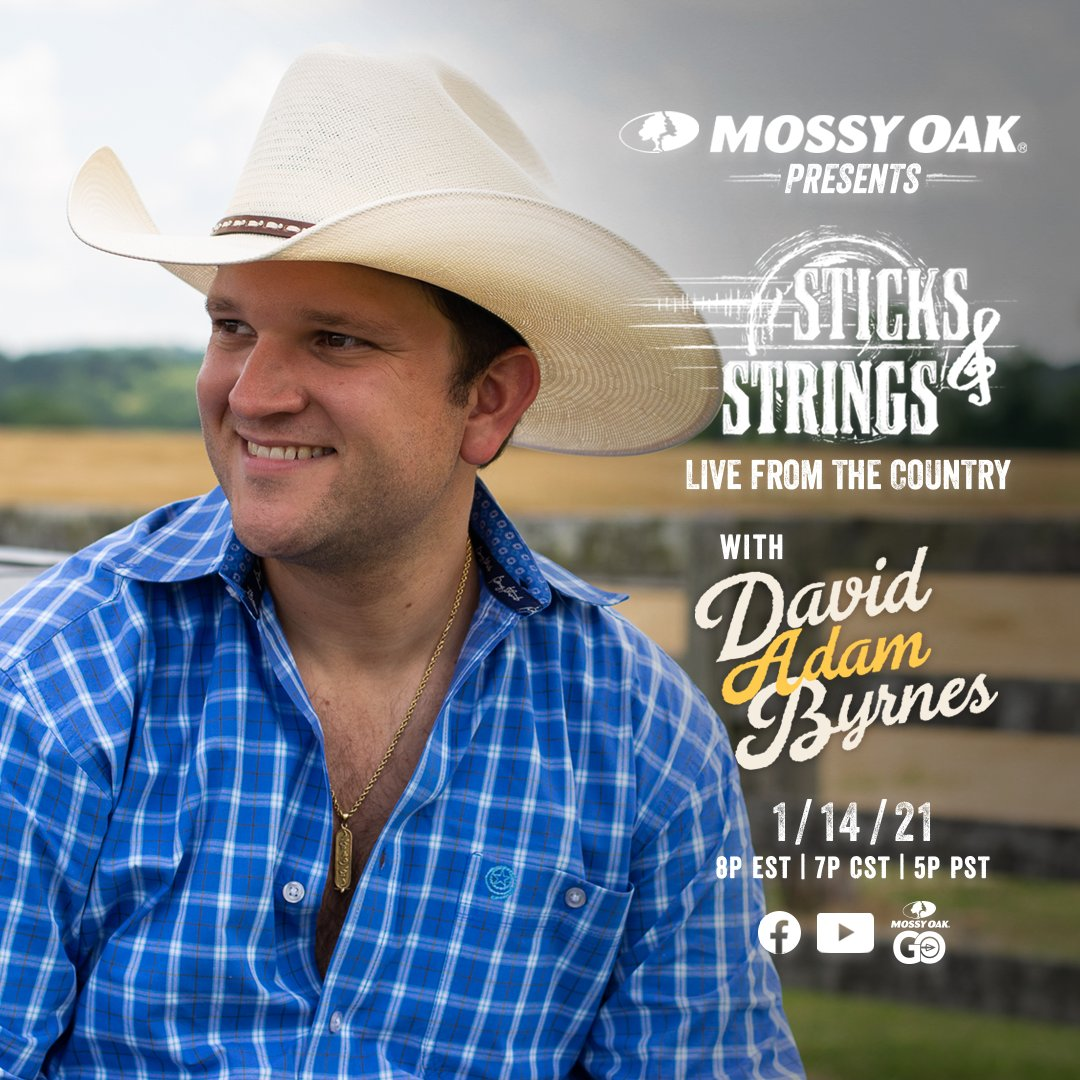 Tune in to Sticks & Strings: LIVE from the Country with @davidadambyrnes. Starts at 7 p.m. CST on Mossy Oak GO, YouTube and Facebook.