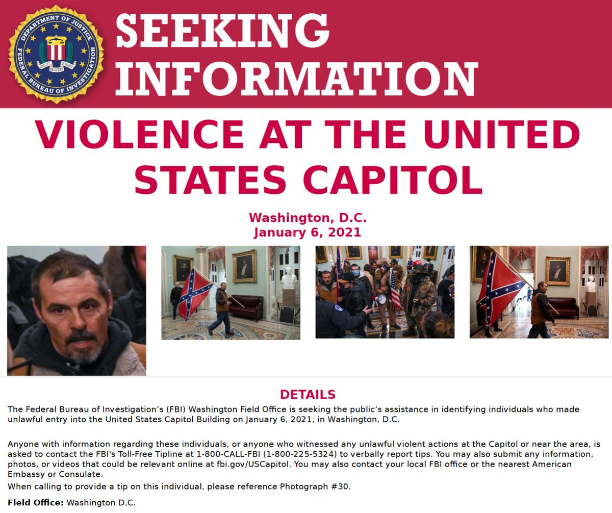 #FBIWFO is seeking the publics assistance in identifying this individual who made unlawful entry into US Capitol on Jan. 6. If you witnessed unlawful violent actions contact the #FBI at 1-800-CALL-FBI or submit photos/videos at fbi.gov/USCapitol. fbi.gov/wanted/seeking…