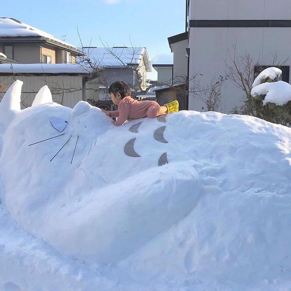 こんな楽しみ方もあり!たくさん雪が降ったからトトロを作ってみたw
