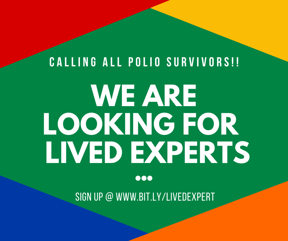 We are looking for polio survivors who are willing to play the valuable role of 'Lived Expert' at our workshops. You will share your polio story for 10-20min with health professionals at the workshop & answer questions about your experience. Sign up ➡️ https://t.co/Awrb1Ist1p