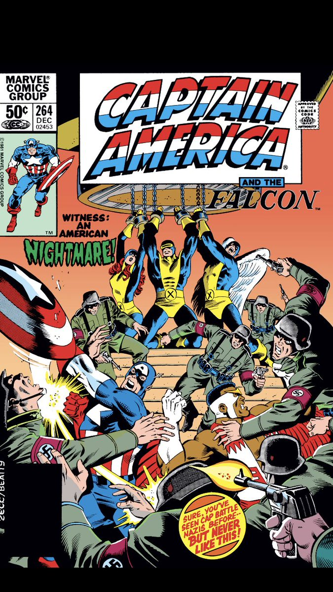 #comicbeforebed Captain America No. 264, December, 1981. Bucky an Avenger? X-Men freed by Cap during Nazi hold in New York? An altered reality in the mind amplified by four telepaths. 😳😲🤯 #CaptainAmerica #MarvelComics #MarvelUnlimited #digitalcomics @marvel @MarvelUnlimited