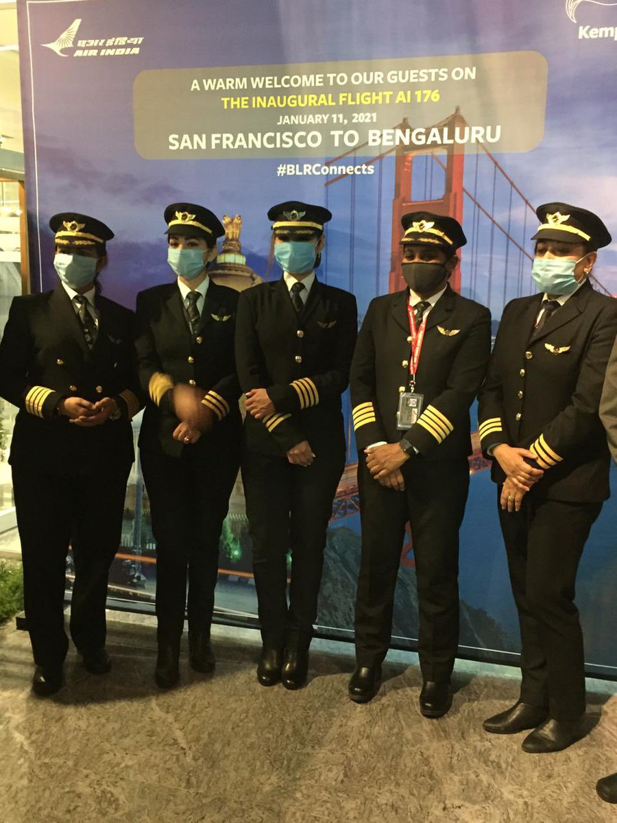 The #AirIndia's longest direct flight lands in #Bengaluru after flying over the North Pole and covering a distance of about 16,000 kilometres. Heartiest Congratulations to Capt Zoya Aggarwal, Capt Papagari Thanmai, Capt Akansha Sonaware & Capt Shivani. @airindiain @HardeepSPuri