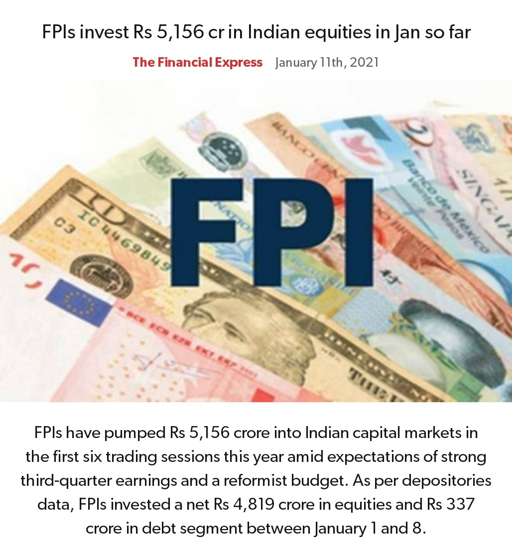 FPIs invest Rs 5,156 cr in Indian equities in Jan so far https://t.co/UzfCt5TyBz   via NaMo App https://t.co/wR3Mn0jNz0