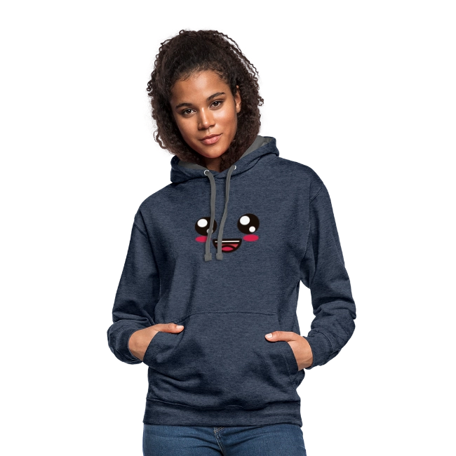 Happy Smile - Unisex Contrast Hoodie | A Buddy Merch    #abuddy #artist #artistsontwitter #artistontwitter #art #design #designer #fashion #clothing #shirt #shirts #hoodie #hoodies #Hoodietwitter #smile #emoji #smiley