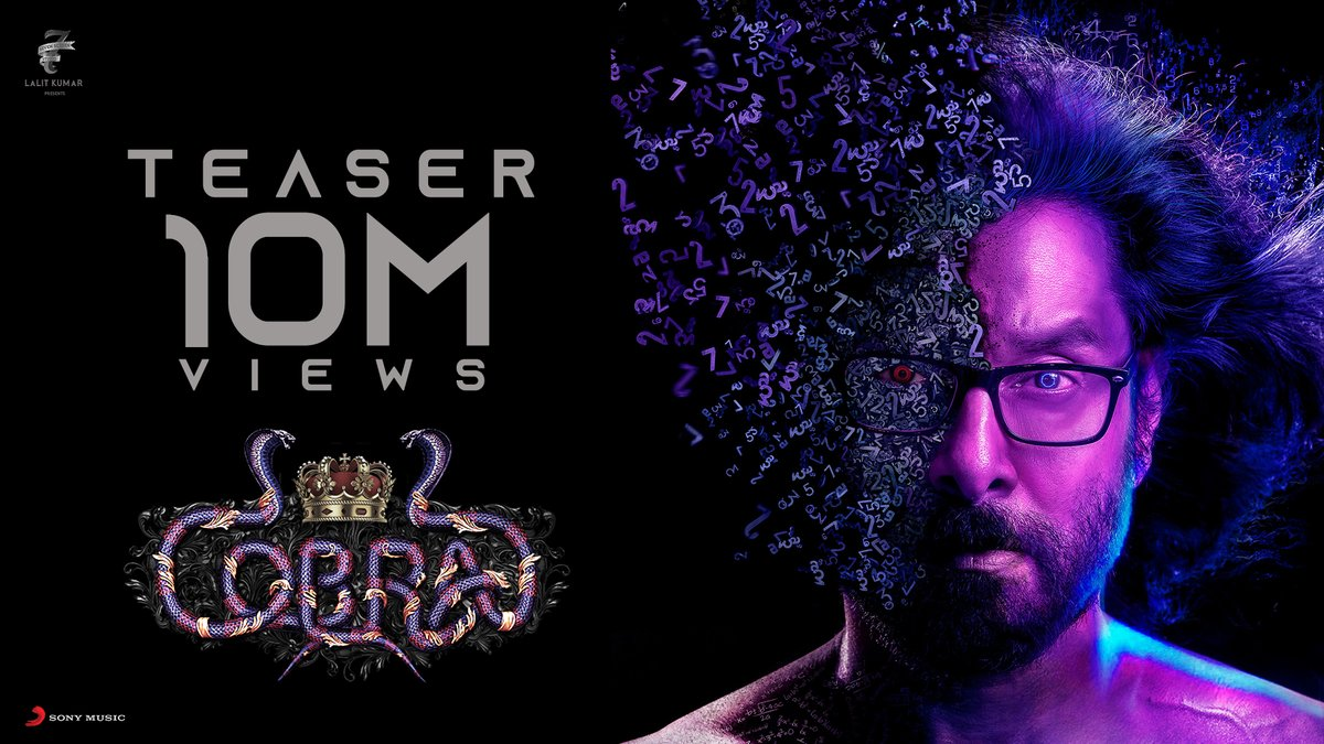 We hit a MIGHTY 1⃣0⃣ MILLION for #ChiyaanVikram's #CobraTeaser ! 🔥  Watch the TRENDING Teaser yet again ➡️  @AjayGnanamuthu @Lalit_SevenScr @arrahman @7screenstudio @SrinidhiShetty7 @IrfanPathan   #Cobra