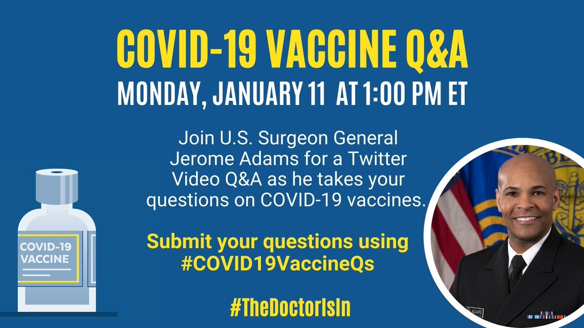 Have questions about #COVID19 vaccines? @Surgeon_General & @HHSgov will be answering your questions today at 1:00 pm ET. Submit your questions using #COVID19VaccineQs!