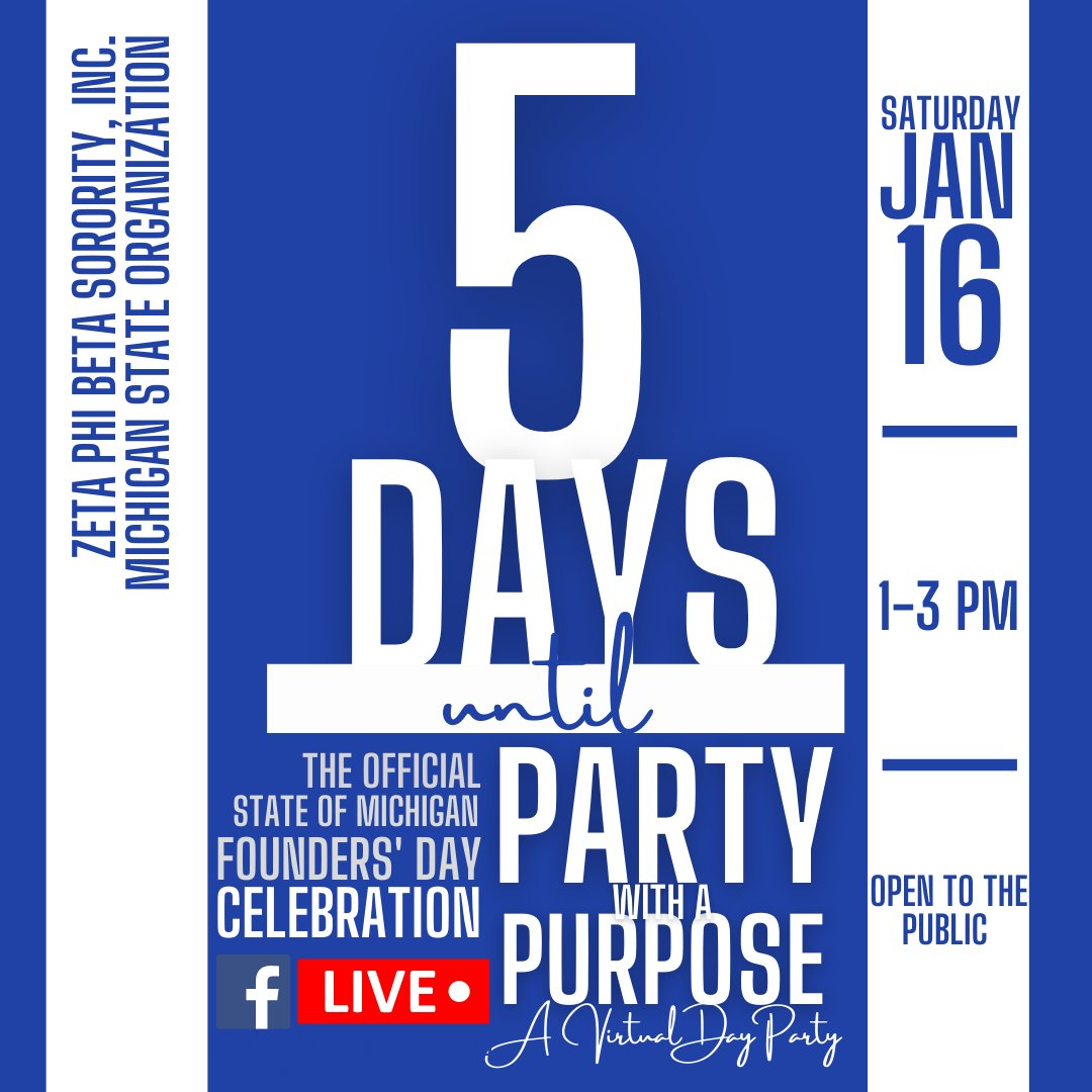 Love good music? In 5 DAYS, Zeta Phi Beta Sorority, Inc.'s Michigan State Organization livestreams a VIRTUAL DAY PARTY on its Facebook page on SATURDAY, JANUARY 16, 2021 from 1PM to 3PM @MichiganZetas‼️ Public invited! This event will be fire! l #FoundersDay #ZPhiB2021 #StJude