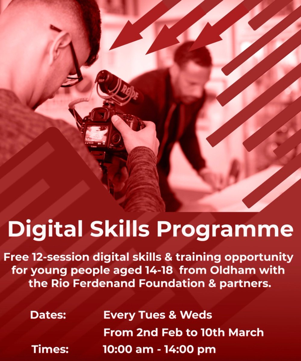 Aged 14-18 years and living in #Oldham ? Looking for support to build and meet your career goals? Our new digital skills programme is now underway and open to participants. Contact justin@rioferdinandfoundation.com to register your interest.