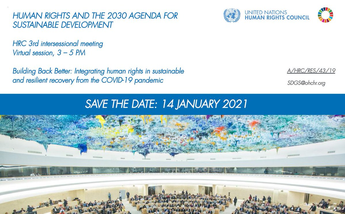 With #COVID19, sustainable development is more than ever interlinked with human rights  COMING UP! - Human Rights Council meeting to discuss the issues  📅Thursday 🕒15:00 CET INFO  WATCH