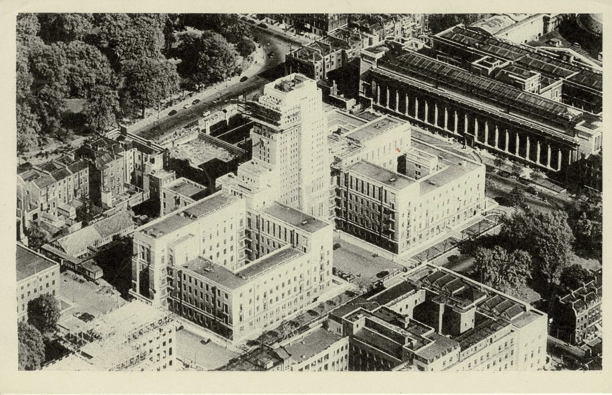 Good morning! Todays #HigherEducationPostcard shows @UoLondon Senate House, along with @LSHTM bottom right, @britishmuseum top right and @SOAS peeking out at bottom left When I worked at Senate House a million years ago, lunchtime at the museum was a regular treat