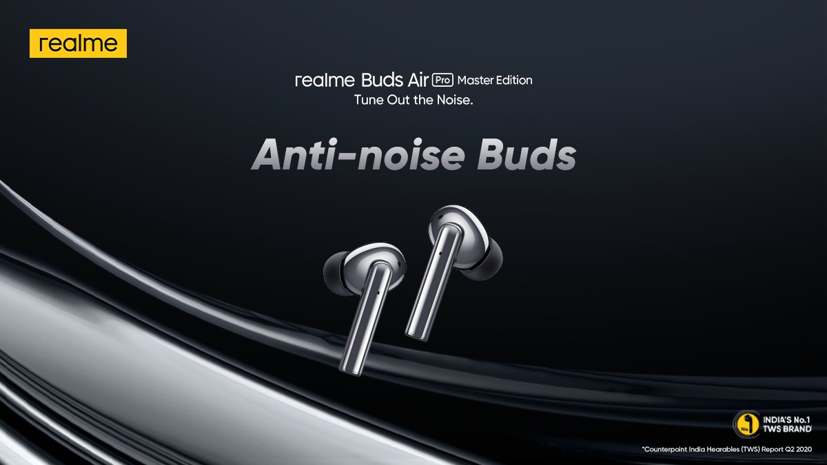Enjoy Active Noise Cancellation up to 35dB with #realmeBudsAirPro that effectively blocks out the noise and offers an immersive listening experience.  Priced at ₹4,999. Available on  & @Flipkart. Know more: