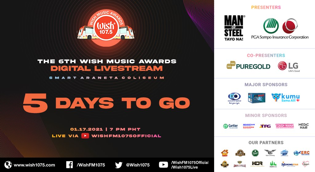 Five days to go before the 6th Wish Music Awards Digital Livestream!  Watch the event LIVE on YouTube: